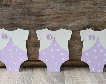baby shower party, 12 piece onesie cutout, cupcake topper