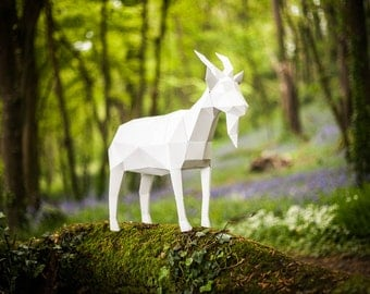 Papercraft Goat, 3d Template, DIY LowPoly Paper Farm Pet