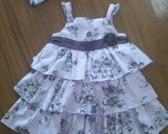 3T Floral Ruffles dress with headband