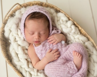 Knitted SET newborn bonnet romper / Alpaca/silk