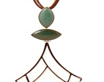 Genuine leather necklace with Green Quartz in 18k gold plated
