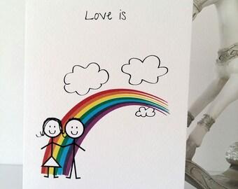 Love Rainbow Greeting Card, Rainbow, Valentines, Just Because, Boyfriend to girlfriend, Girlfriend to boyfriend, Wedding,Stickmen, Handmade