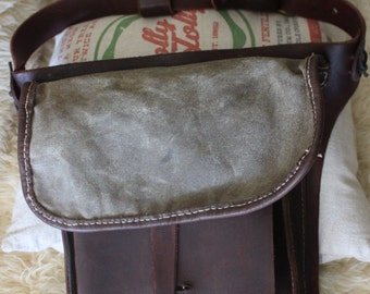 leather , waxed canvas hip bag
