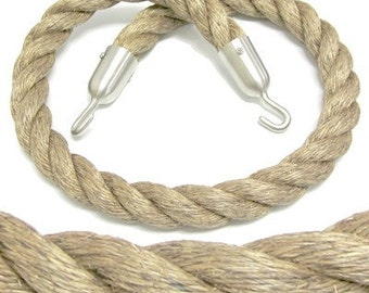 Nautical Curtain Tie Backs, Hand Made Nautical Hemp Rope, Satin Stainless Hooks, Nautical Rope