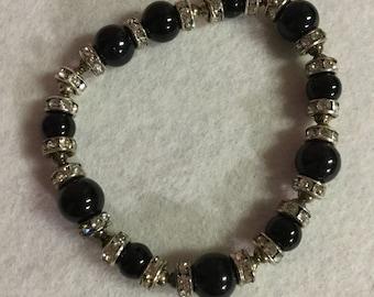 Black Bead and Silver Rhinestone Bracelet