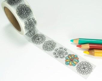 Mandala Washi Tape - Coloring Book Washi Tape, 20mm width