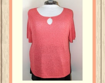 Coral Knit Shirt with Keyhole
