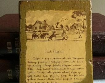 Vintage hush puppies recipe wall plaque