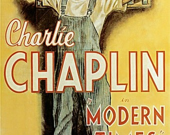 Charlie  Chaplian  - Modern  Times vintage Poster print on Paper or Canvas Giclee 13X18 to 44X60