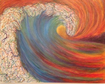 Multicolor Wave Oil Pastel Drawing