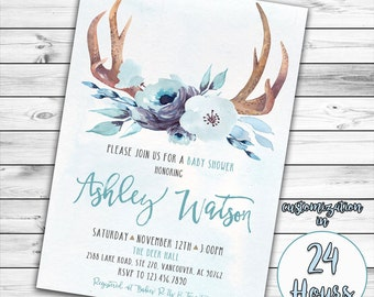 Boy Baby Shower Invitation, Woodland Baby Shower, Deer Baby Shower, Boho, Antler, Oh Deer, Oh Boy, Baby Boy, Tribal, Blue, Printable Invite