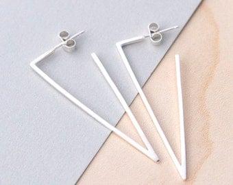 Skinny Triangle Hoop Earrings, Geometric Hoop Earrings, Silver Geometric Earrings, Minimalist Earrings