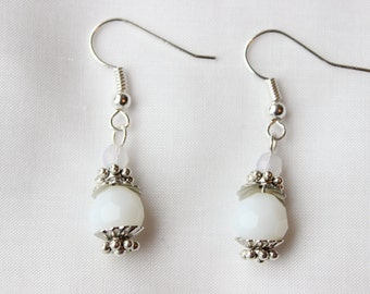 Faceted White Globes Silver Earrings