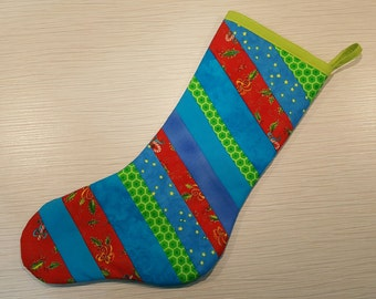 Quilted Christmas Stocking - Lots of Teal