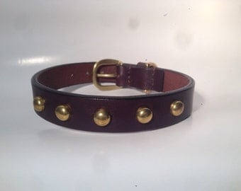 Brown bridle studded leather dog collar with brass buckle