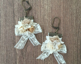 Lace and Rose Bouquet earrings