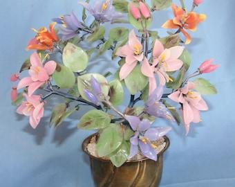 Vintage Asian Glass Flower Tree
