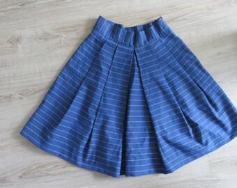 Blue Pleated Skirt High Waist