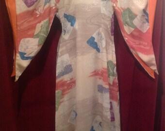 1940s Fabulous - Rare Silk Rayon LAUHALA DRESS Pake Muu Muu / Hawaiian Dress / make - Paradise Sportswear - Made in HAWAII