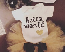 Gold hello world infant girls coming home outfit