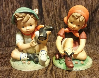 Erich Stauffer vintage figurines, hummel style, set of two, free shipping