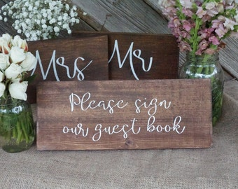 Please sign our guest book wedding sign. Wedding table sign. Wedding prop. Wedding sign. Wood sign. Please sign our guest book wood sign.