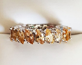 Silver 925 Citrine Marquise Cut Stones Anniversary Band Ring