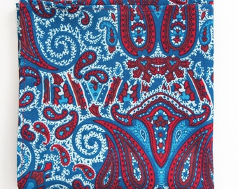 Mens Pocket Square, Red and Blue Paisley Pattern, Mens Handkerchief, Suit Accessory, Paisley Design, Mens Hankie, Gifts for Men