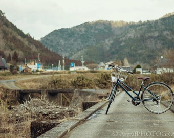 Rural Photo Art, Large Wall Art, Bicycle Photo, Countryside Canvas, Japan Photography, Bedroom Decor, Home Decoration