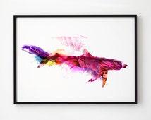 Shark watercolor Fish art Nautical print EM165