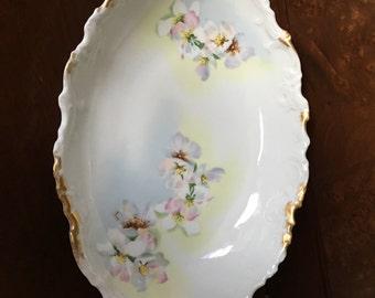 Antique Serving Bowl - Z S Co Bavarian China Floral Porcelain - Zeh Scherzer and Co - Rehau Germany - Antique Home Decor
