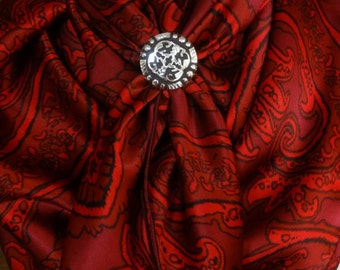 166s - 100% SILK CHARMEUSE - Deep Red Paisley