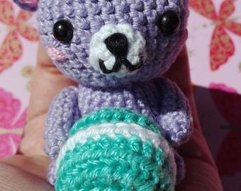 AMIGURUMI - Teddy bear kawaii lilac with macaroon -