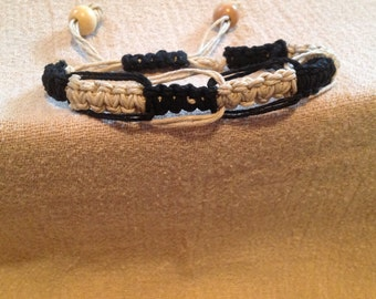 Black and Cream Square Knot Bracelet