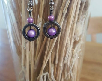 Handmade purple miracle bead and hematite earings