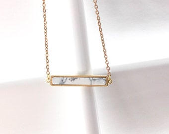 Marble bar necklace, marble gold necklace, gold howlite necklace, natural stone necklace, rectangle howlite, marble rectangle