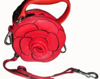 Red Flower Rosette Purse Retractable Leash
