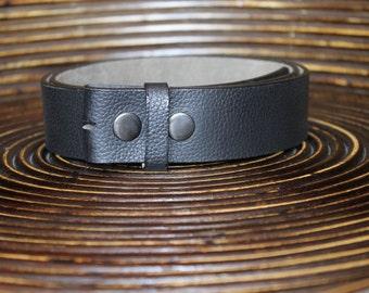 Black Leather Belt - Strap Snap Belt - Interchangeable Belt - Soft
