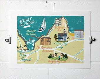 Bangor N.I. Illustrated Map A3 Print