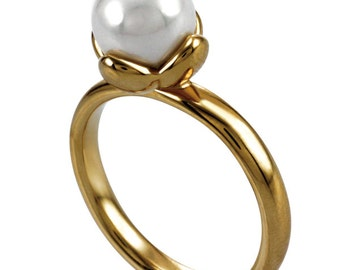 Women's 14K Gold/White Stainless Pvd Ring