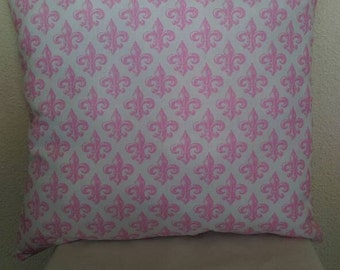 Fleur-de-lis Throw Pillow with Light Pink Back