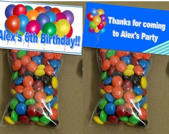 Birthday goody bags - bag toppers