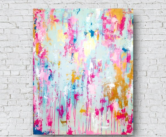 Modern Abstract Pink Painting Pink Gold Gold Leaf Abstract