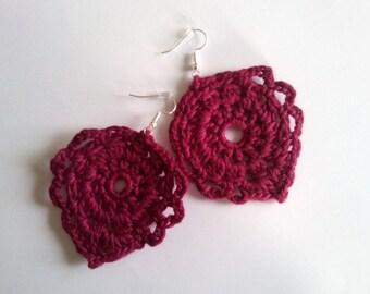 Rouge crochet boucle d'oreille, vintage, elegant, crochet earrings