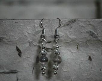 Handmade silver plated rainbow fluorite earrings