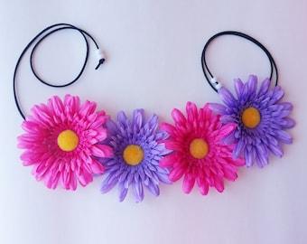 Multi Color Headband, EDC Headband, Flower headband, Pink and Purple Headband