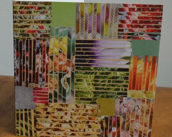 Patchwork lines 2 collage Greetings Cards