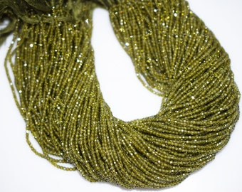 AAA Quality Olive Cubic Zirconia Faceted Rondelle Beads 13 Inch Strand ,Olive CZ Beads,Olive Roundel Beads , 3 mm - MC412