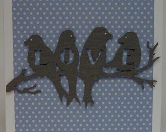 love birds on blue  card