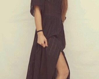 Super Sale/Kaftan Black dress/Backless/Long dress/Beachwear/100%cotton/Buttons/Summer dress/by E.N.I. handmade